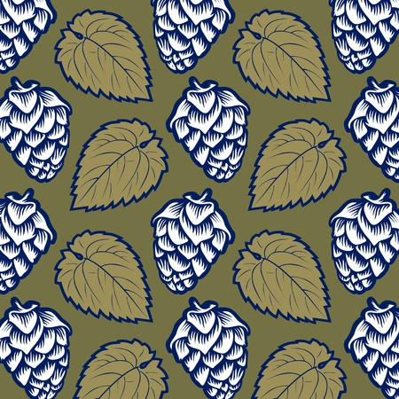 green hop leaves pattern background Stock Vector - 10826280