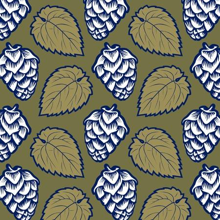 green hop leaves pattern background Vector