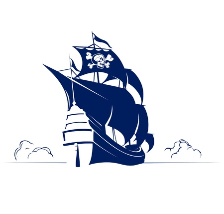 galleon: pirate retro ship with skull and bones