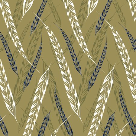 wheat grass: ear wheat pattern background Illustration