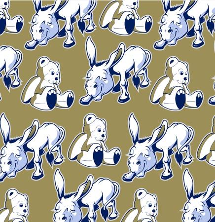 cartoon donkey bear background funny style  Vector