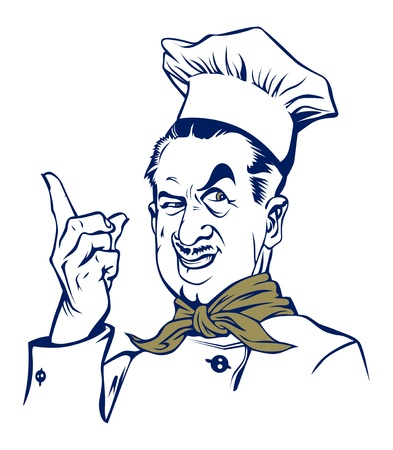french cuisine: cartoon style cook man smile  Illustration