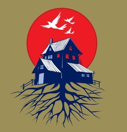 cartoon scare dark house roots  Illustration