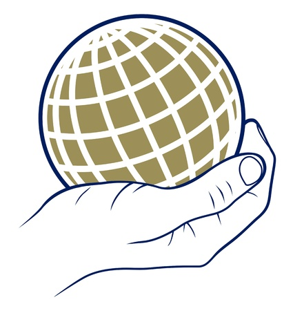 human geography: palm holding earth globe in vector