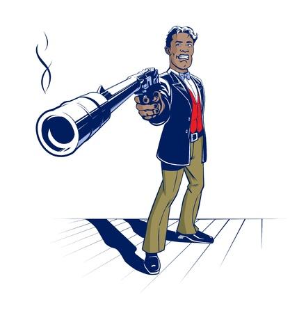 geweer: pistool gangster met een smoking gun Stock Illustratie