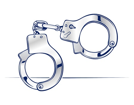 metal handcuffs: lock steel handcuffs icon in vector