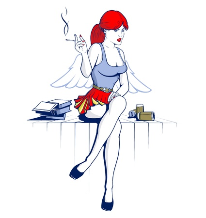hot lips: angel girl and drink the beer smoke in cartoon vector style