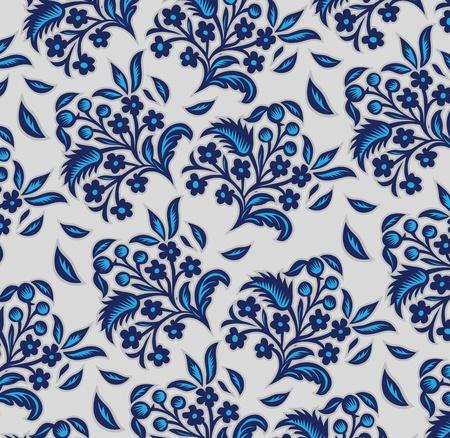 blue floral background pattern in vector  Illustration
