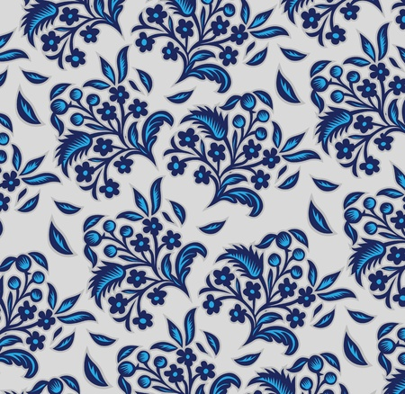 repeat: blue floral background pattern in vector  Illustration