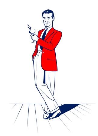 cartoon style cocktail drink man