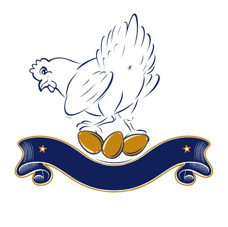 granja avicola: pollo de dibujos animados de la cinta de oro del huevo etiqueta