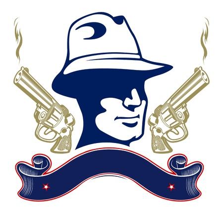 gangster with gun: gun gangster emblem with ribbon Illustration
