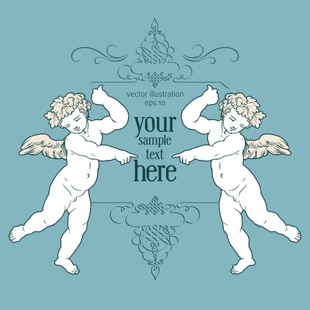 angels greeting card Vector