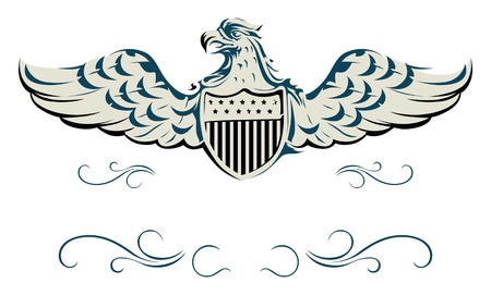 blue grey coat: vector eagle shield Illustration