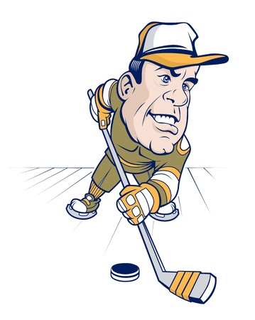 hockey cartoon character with baseball cap Vector