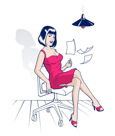 young woman sitting: beauty office cartoon woman with flying sheets of paper