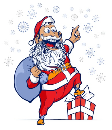 cartoon funny santa smile with a bag of gifts Illustration