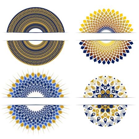 set of decorative round design elements Illustration