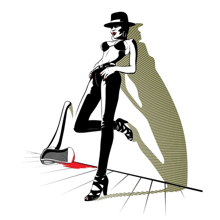 stylish pretty women in jeans with blood axe  Illustration