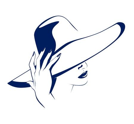 femme dessin: la beaut� des femmes portrait avec le chapeau