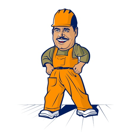 Cartoon builder worker man Vector