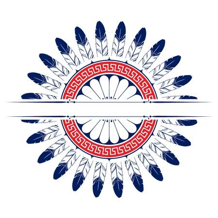 feather round emblem background  design elements Illustration