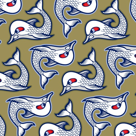cartoon evil fish background pattern Vector
