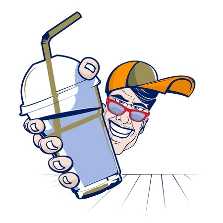 cartoon teenager boy with cocktail plastic cup Vector