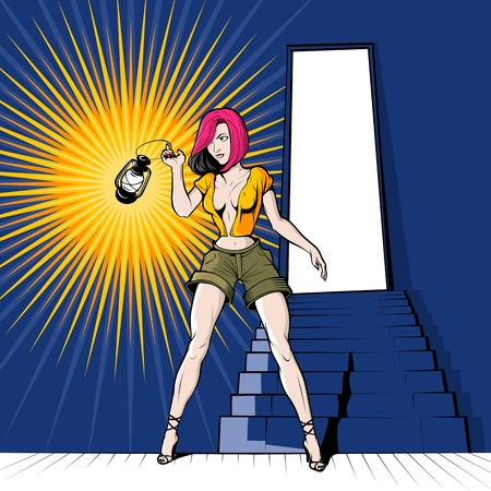 cartoon girl with the lantern in basement Vector