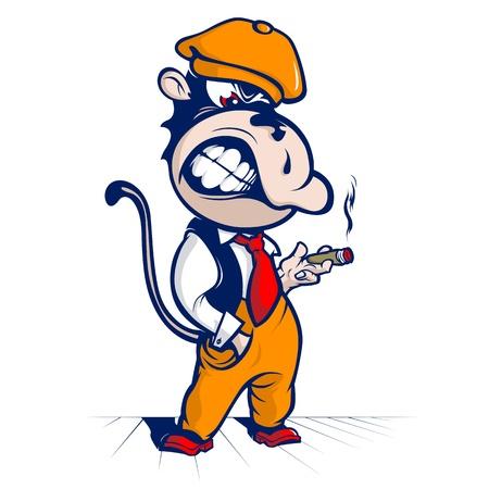 cartoon monkey smoke  and smile  Ilustração