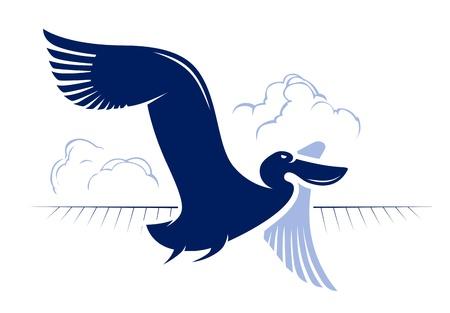 pelican: flight bird logotype  duck, pelican Illustration