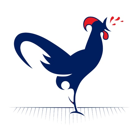 cartoon style of rooster redneck icon
