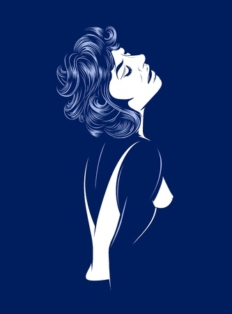 sexy glamour women silhouette on dark Vector