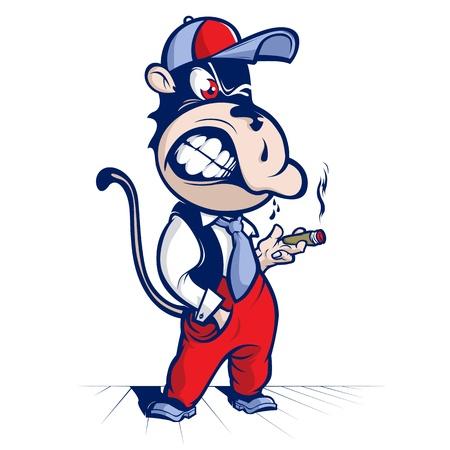 cartoon aap rook en lach Vector Illustratie