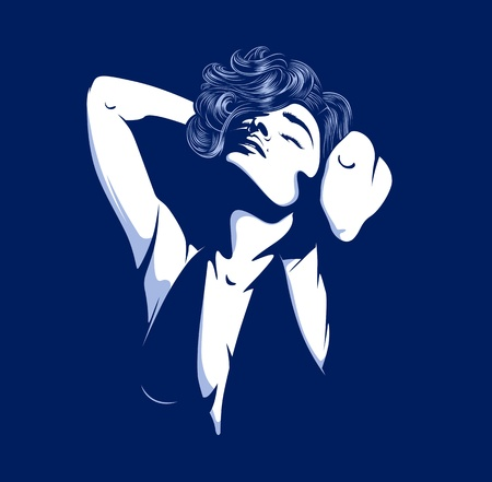 sensuality: pretty glamour women silhouette on dark Illustration