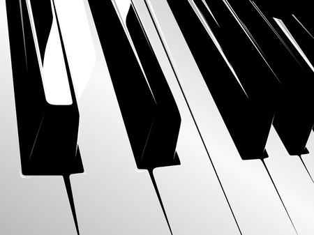 synthesizer: black and white piano keyboard