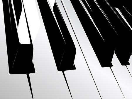 piano keyboard: black and white piano keyboard