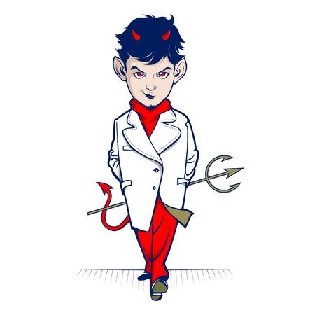 satanas: diablo, personaje de dibujos animados a pie y una sonrisa Vectores