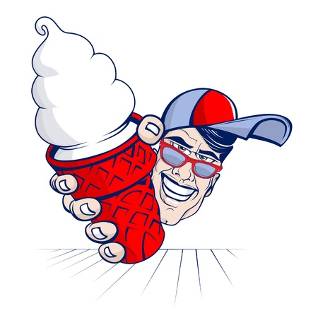 cartoon icecream boy with cap Vector