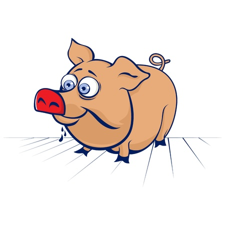 cartoon funny pig in vector Vector