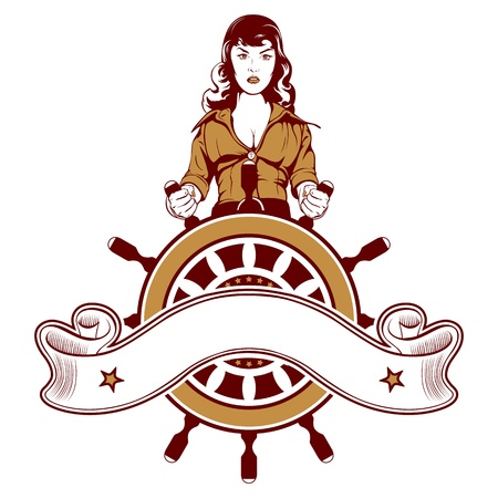 steuerruder: Cartoon Frau Seemann Vektor Emblem Illustration