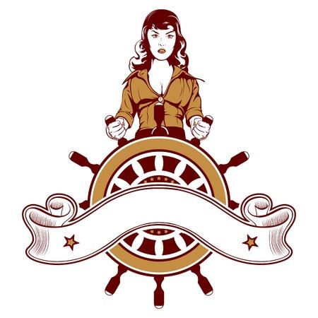 cartoon woman sailor vector emblem