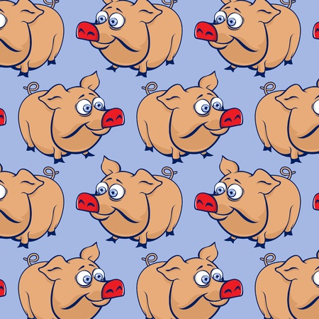 cartoon funny pig background in vector Vector