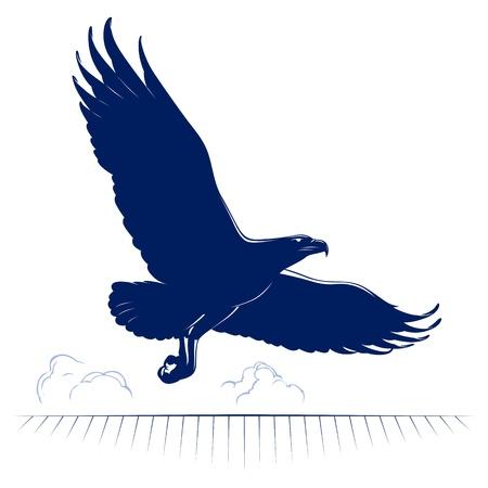 freedom logo: historieta �guila volando en el vector