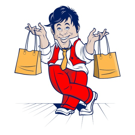 happy shopper: shopping man  big sale  cartoon character