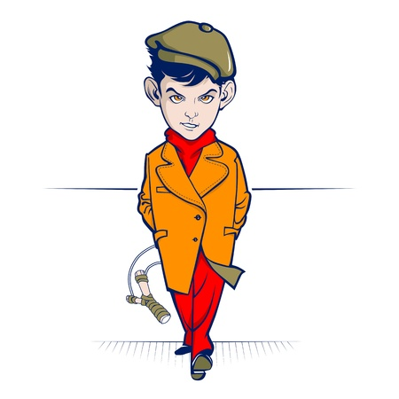 young cartoon hooligan character with the slingshot Illustration