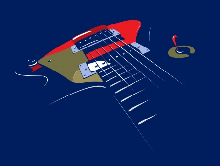 Electric Guitar Silhouette   Editable Illustration Vector