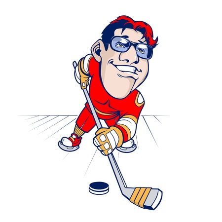 cartoon Hockey player smiling  Stock Vector - 13986942