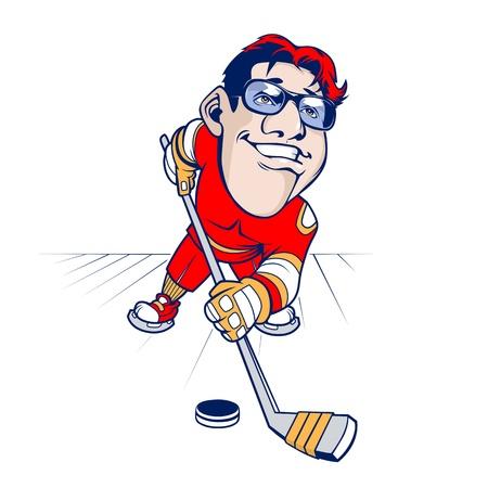cartoon Hockey player smiling