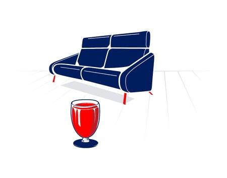 sentarse: Sofá suave y el vidrio de la Ilustración Vector rojo vino